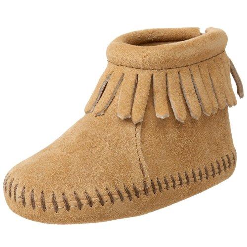 Minnetonka Velcro Back Flap Bootie, Unisex Baby Krabbelschuhe, Beige (Tan / TAN), 18 EU (0.5 UK) (Casual Velcro Braun Schuh)