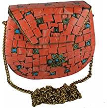 Eshopitude Gift Item Chipped Stone Metal Clutch Orange Onyx Gemstone with Shoulder Chain Brass Women's & Girl's Handbag/Clutch/Purse Pouch
