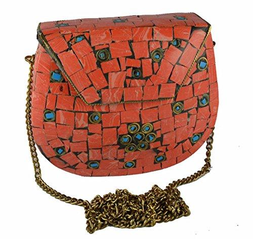 Eshopitude Gift Item Chipped Stone Metal Clutch Orange Onyx Gemstone with Shoulder Chain Brass Women's & Girl's Handbag/Clutch/Purse Pouch