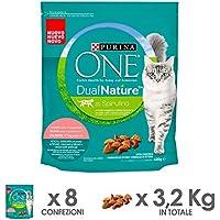 Purina One Dualnature Crocchette Gatto Adult Ricco in Salmone e con Spirulina Naturale - 8 Pezzi