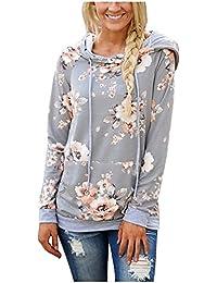 2eac93c67c88 Odosalii Women's Casual Floral Sweatshirt Hoodie Long Sleeve Printed  Pullover Jumpers Hooded Tops