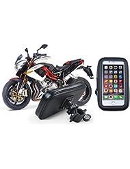 Cheeroyal universal 360 ° impermeable cambiar montaje de la motocicleta de la moto la caja del sostenedor del soporte del teléfono Vista posterior montaje del espejo para el iPhone para Samsung teléfono S4 S5 S6 S7 Nota 2 3 4 5 iPhone 4 5 6 6s 6 Plus LG HTC (L)