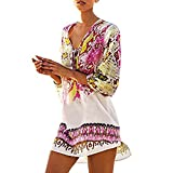 Vestido mujer Sexy ❤️ Amlaiworld Vestido de Bohemia para mujer Señoras Ropa de playa de Verano Traje de baño Bikini Cover Up Cubrir Ropa de baño (Rosado, Tamaño libre)