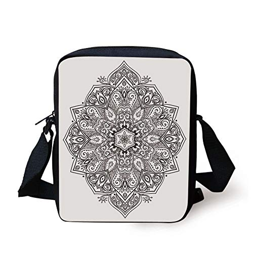 Mandala,Asian Psychedelic Circular Element Lotus Ethnic Medallion Yoga Eastern Culture,Black White Print Kids Crossbody Messenger Bag Purse Medallion-boot