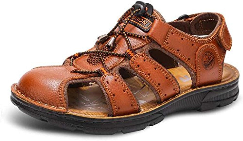 GLSHI Herren Sandalen Neue Sport Outdoor Freizeit Atmungsaktive Leder Baotou Sandalen Sommer Mittleren Alters