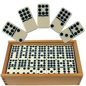 Premium Set of 55 Double Nine Dominoes with Wood Case, Brown