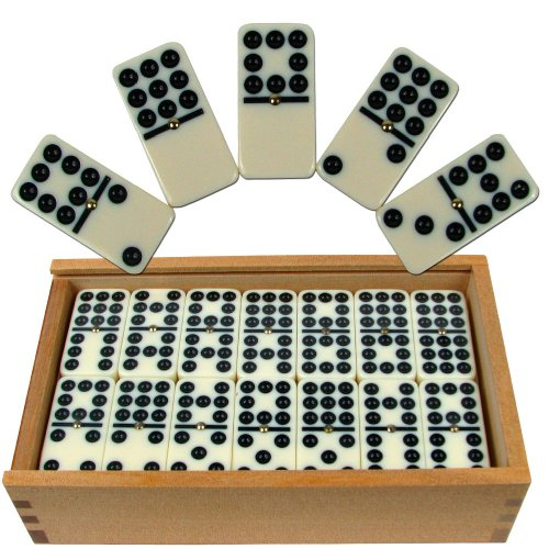 Trademark Games Premium Set of 55 Double Nine Dominoes with Wood Case, Brown