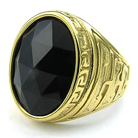 Stainless Steel Ring for Men, Oval Ring Gothic Black Band Gold 20MM Size R 1/2 Epinki