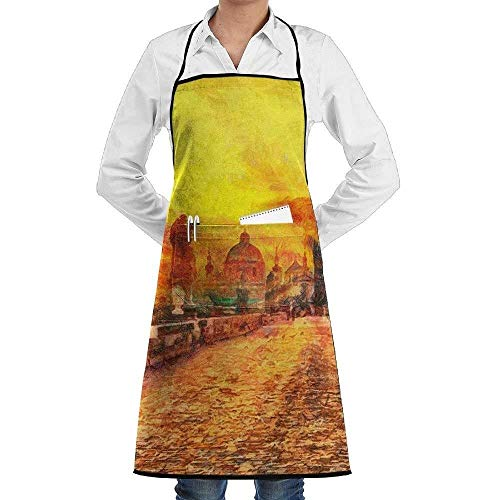 sd4r5y3hg Charles Bridge at Early Morning Sunrise Sun Beams Oil Painting Fashion Waterproof Durable Apron with Pockets for Women Men Chef