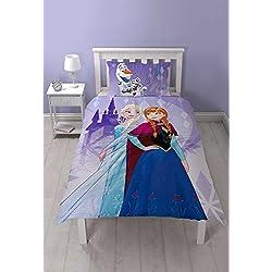 Disney Frozen–Juego de funda reversible dos diseño poliéster funda de edredón con funda de almohada, morado, Single