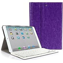 CoastCloud color morado funda Cubierta protectora cuero PU con Teclado Inalambrico QWERTY espanol para iPad mini 1/iPad mini 2 con Bluetooth