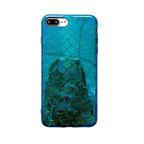 Grün Mermaid iPhone 6Plus Schutzhülle, iPhone 6S Schutzhülle, easue Smaragd Fish Scale Handy Case mit Reflektierende Blue Ray Slim Fit TPU Snap Cover für iPhone 6/iPhone 6S, for iPhone 7/iPhone 8 Handy Snap Case