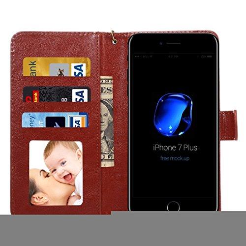 Hülle für iPhone 7 plus , Schutzhülle Für iPhone 7 Plus & 6s Plus & 6 Plus, Samsung Galaxy S7 Edge & S6 Edge +, Huawei P9 Plus & Mate 8 & Mate 7, Universal Da Vinci Textur Horizontale Flip Leder Tasch Brown