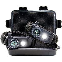 TRSCIND Paracord Bracelet - Outdoor Survival Multifunctional Equipment Kit - Compass, Flash, Flintstone, Blade, Emergency Whistle