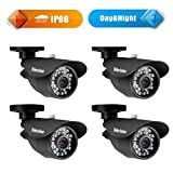 """Tekvision 4 Pack 1000TVL 960H Security Camera Kit -1/3"""" CMOS With IR Cut 3.6mm Lens Super Wide View Angle Outdoor Bullet Waterproof and Weatherproof Outdoor Cams"""