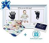 Marco fotos de huellas de manos y pies bebé azul | Bonus: un babero de algodón extra absorbente | con Almohadilla de Tinta No Tóxica | Regalo original para bebés hasta 8 meses