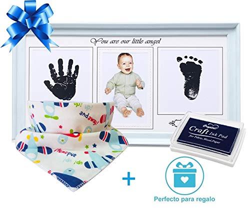Marco fotos huellas manos pies bebé azul | Bonus: