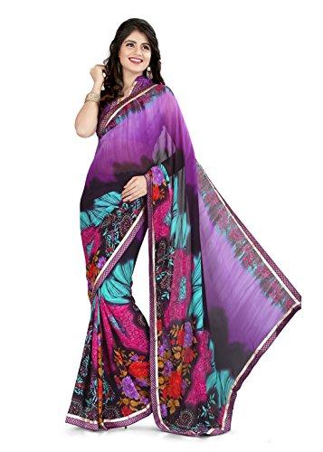 Sharda Sarees Georgette Saree (Purple) with Blouse Piece