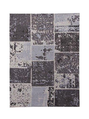 Teppich Wohnzimmer Carpet Patschwork Design Matrix 110 Rug Muster Baumwolle 160x230 cm Schwarz/Teppiche günstig online kaufen