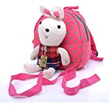 Babyhugs® Kids Walker Saftey Harness Back pack with detachable soft toy Reins - Pink Bag with Cute Bunny Rabbit