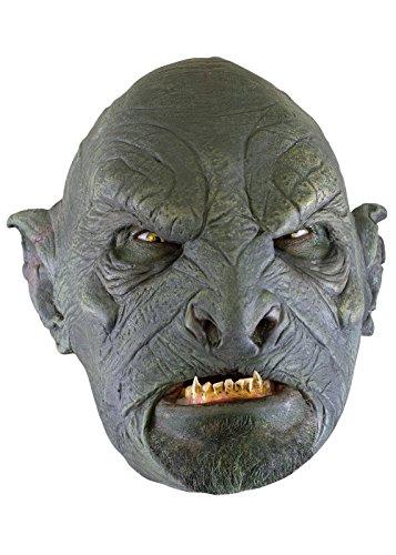 Schaurige Ork-Maske, Dunkelgrün Herrenmaske Halloween LARP Cosplay Orkgesicht aus Latex Faschingskostüm