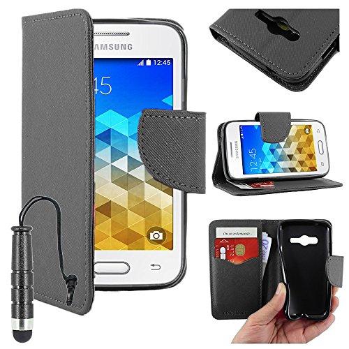 ebestStar - Compatibile Cover Samsung Galaxy Trend 2 Lite SM-G318H, Galaxy V Plus Custodia Portafoglio Pelle PU Protezione Libro Flip + Mini Penna, Nero [Apparecchio: 121.4 x 62.9 x 10.7mm, 4.0'']