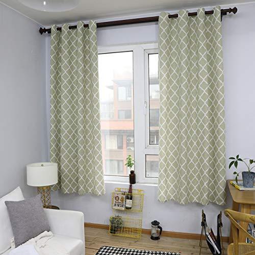 GZ-curtain Vorhang geometrische Diamant grün Baumwolle und Leinen gemischt Erker Fenster Schlafzimmer Balkon Halbschatten Stanzen