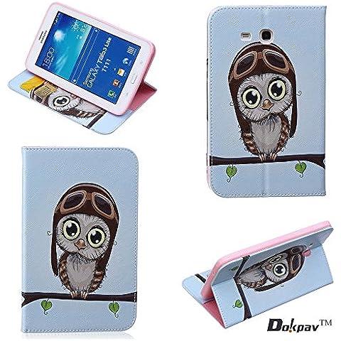Dokpav® Samsung Galaxy Tab 3 7.0 Lite T111 Custodia in Pelle ,Ultra Slim Sottile PU (Realizzato Gufo)