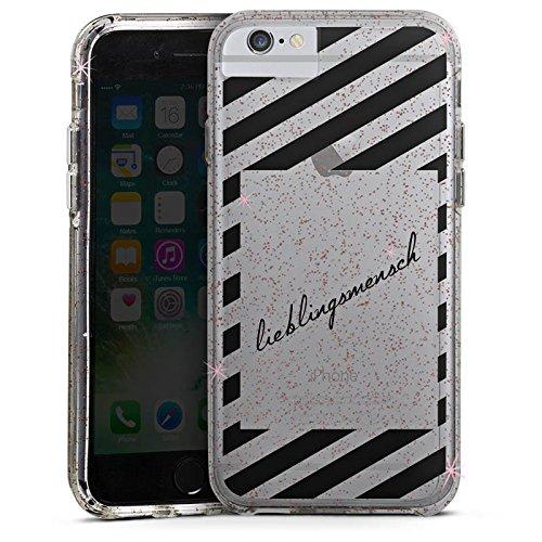 Apple iPhone 8 Bumper Hülle Bumper Case Glitzer Hülle Transparent mit Motiv Lieblingsmensch Statement Bumper Case Glitzer rose gold