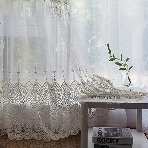 PENVEAT Zarte bestickte Tüll Vorhänge für Wohnzimmer weiß Sheer Volie Fenster Vorhang für Schlafzimmer Spitze Cortina para Sala, besticktem Tüll, B150cm x H250cm, Pull Plissee Tape