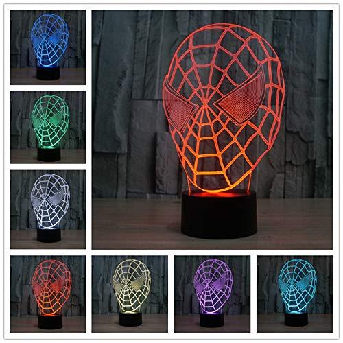 Berühren Sie die Spider Man 3D bunte Lichter Acryl 3D Licht LED visuelle Atmosphäre Lampe Power Bank Tischlampe