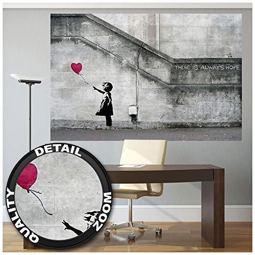 Great Art XXL Poster - Banksy Art Balloon Girl - Wandbild Dekoration There is Always Hope Banksy Girl Balloon Banksi Street Style Stencil Wandposter Fotoposter Wanddeko (140 x 100 cm)