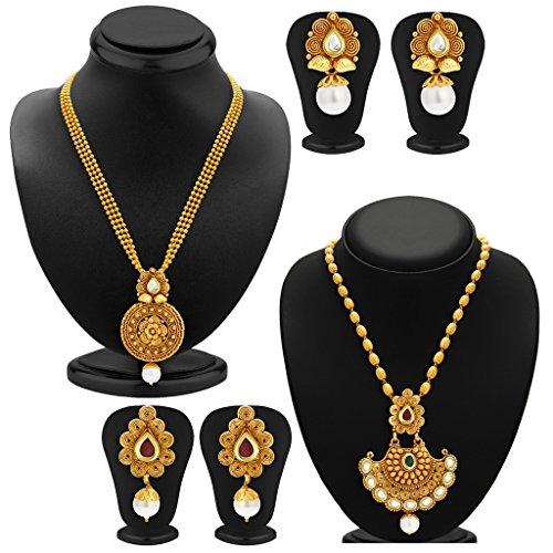 Sukkhi-Wavy-Gold-Plated-Kundan-Set-of-2-Necklace-Set-Combo-For-Women