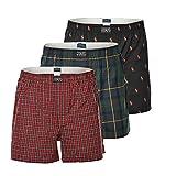 Polo Ralph Lauren Herren Shorts 3er Pack, Webboxershorts, Webshort - Schwarz/Rot: Größe: M (Gr. Medium)