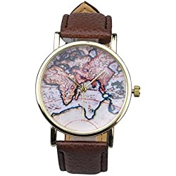 WANGSCANIS® Unisex Men Women Fashion Analog Display Digital Quartz Birthday Gift Faux Leather Straps World Map Pattern Wrist Watch Brown