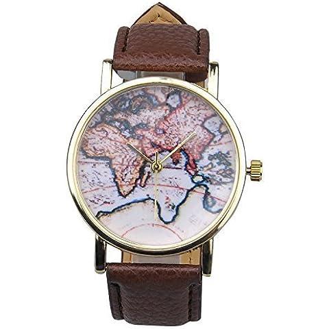 WANGSCANIS® Unisex Hombres Mujeres Moda Analógico Pantalla Digital cuarzo correas de piel sintética patrón de mapa del mundo reloj de pulsera marrón de regalo de cumpleaños