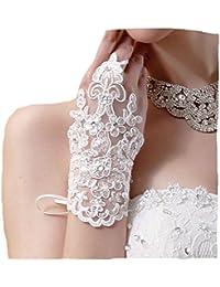 Brauthandschuhe fingerlos Braut Weiß Ivory Handschuhe Strass Steinchen Hochzeit