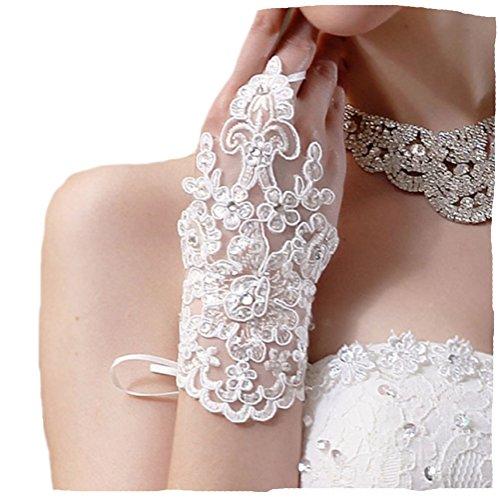 Brauthandschuhe fingerlos Braut Handschuhe Strass Steinchen Hochzeit Weiß Ivory (Ivory) (Ivory)