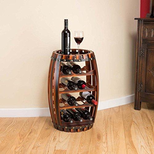 Christow Wooden Barrel Weinregal Free Standing 14 Flaschenhalter Eicheffekt
