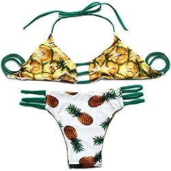 FY Mujeres Chicas Lindo Bikini Brasileño Trajes De Baño Bañador Estilo Halter Piña Print Vacaciones Verano Ropa De Playa Swimwear Blanco Tamaño M