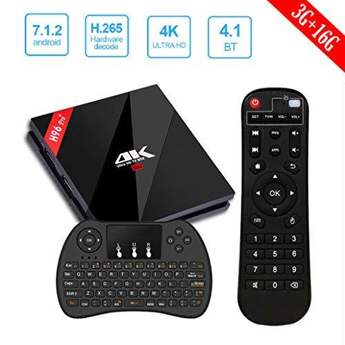 H96 Pro Plus Android 7.1 TV Box avec Amlogic S912 Octo-Core 64 Bits Arm Cortex A53 CPU 3G RAM +16G ROM Prend en Charge 2.4G / 5G Double WiFi 1000M LAN Ethernet / Bluetooth 4.1 / 3D / 4K Set-Top Box