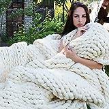 en tricot pour couvertures et plaids, jeté de lit Bulary Grosse Maille Laine Chaud Canapé Couvre-lit patchwork à tricoter Couverture, blanc, D:50*50cm/19.68*19.68in