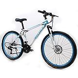 SIER Aleación de Aluminio 26 Pulgadas Bicicleta de montaña Freno de Disco v Freno Todoterreno Adultos Velocidad montaña Hombres y Mujeres Bicicleta,White