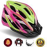 Shinmax Casco Especializado de la Bici con la luz SeguridadCasco Ciclo Ajustable Deporte Cascos Bici Bicicleta Camino Mountain Biking Motocicleta Hombres Mujeres Adultos(Rosaverde-Gran Luz)