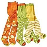 wellyou Baby/Kinder Strumpfhosen für mädchen/Jungen, babystrumpfhose/kinderstrumpfhose grün/weiß Punkte & Blumen 3er Set gr 98-104
