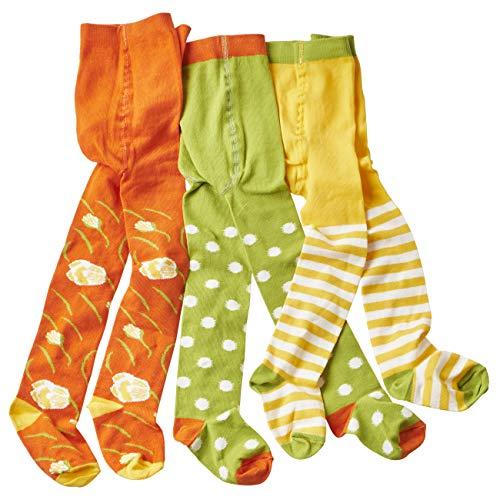 wellyou Baby/Kinder Strumpfhosen für mädchen/Jungen, babystrumpfhose/kinderstrumpfhose grün/weiß Punkte & Blumen 3er Set gr 74-80