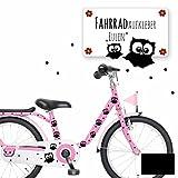ilka parey wandtattoo-welt® Fahrradtattoo Fahrradaufkleber Fahrradsticker Aufkleber Sticker Eulen und Punkte M1893 ausgewählte Farbe: *schwarz*