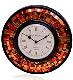 Purpledip Wall Clock 'Red & Brown Magic'...