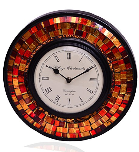 Purpledip Wall Clock 'Red & Brown Magic'' - Mosaic of Glistening Red & Brown Crystal Pieces set in Wood Frame for a Magical Effect   Size: 1212 inches (10554)
