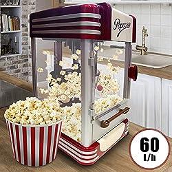 Retro Machine à Pop Corn | 60L/h, 200g/10min, avec un Pot en Acier Inoxydable, pour Maïs Soufflé, Sucré et Salé | Look Années 50, Machine à Maïs Soufflé, Popcorn maker, Appareil à popcorn